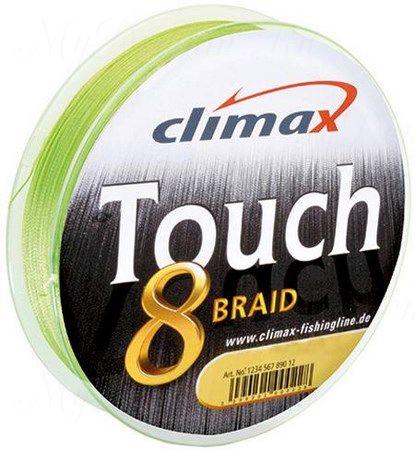 Плетёный шнур Сlimax Touch 8 Braid (флюресцентно-желтый) 135м 0,28мм 26,8кг (круглый)