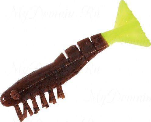 Креветки MISTER TWISTER Exude Shrimp 7 см. уп. 5 шт. 11BKST (съедобная, коричневый, черными блестками с салатовым хвостом) фирменная упак. NEW