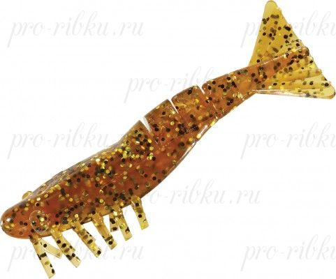 Креветки MISTER TWISTER Exude Shrimp 7 см. уп. 5 шт. 11GBK (съедобная, коричнево-золотистый с черными блестками) фирменная упак. NEW