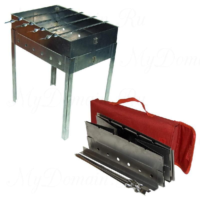 Мангал складной в сумке нерж.ст. 360х170х40 (в сб.виде360х250х420) 2,0 кг.