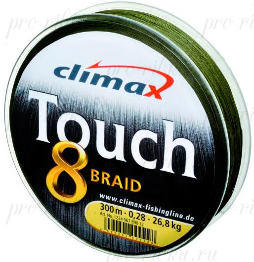 Плетёный шнур Сlimax Touch 8 Braid (тёмно-зеленый) 135м 0,18мм 16,6кг (круглый)