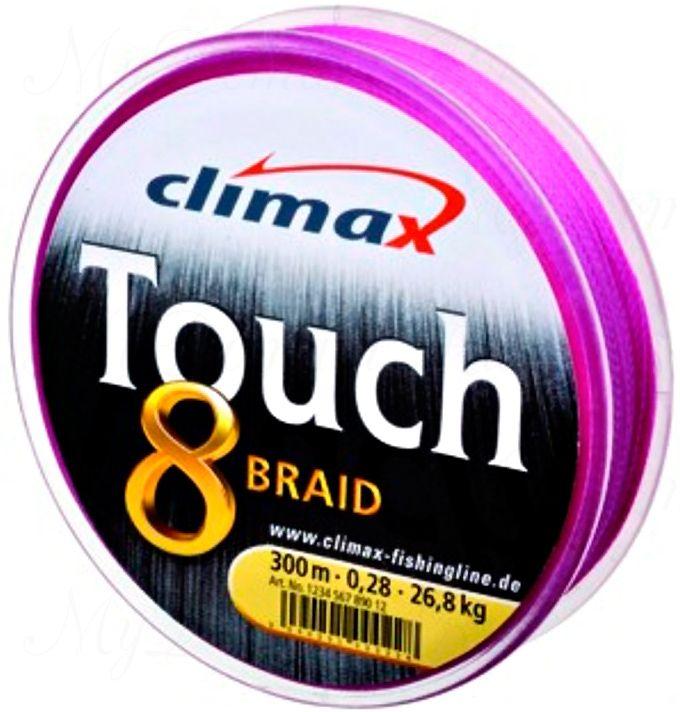 Плетёный шнур Сlimax Touch 8 Braid (розовый) 135м 0,14мм 9,2кг (круглый)