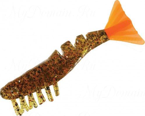 Креветки MISTER TWISTER Exude Shrimp 7 см. уп. 5 шт. 11OBS8 (съедобная, прозрачный, черными и коричневыми блестками с коричневым хвостом) фирменная упак. NEW