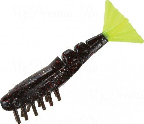 Креветки MISTER TWISTER Exude Shrimp 7 см. уп. 5 шт. 3SRS10 (съедобная, черный с красными блестками и лимонным хвостом) фирменная упак. NEW