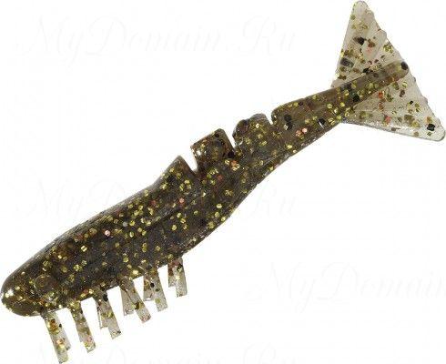 Креветки MISTER TWISTER Exude Shrimp 7 см. уп. 5 шт. 7BKGC (съедобная, прозрачный с коричневыми и золотыми блестками) фирменная упак. NEW