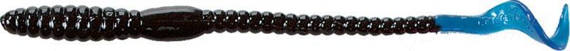 Червь MISTER TWISTER Phenom Worm 15 см уп. 10 шт. 35 (черный / голубой хвост) фирменная упаковка