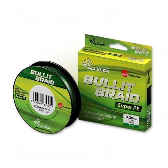 Плетеный шнур Allvega Bullit Braid 135M Dark Green 0,14mm