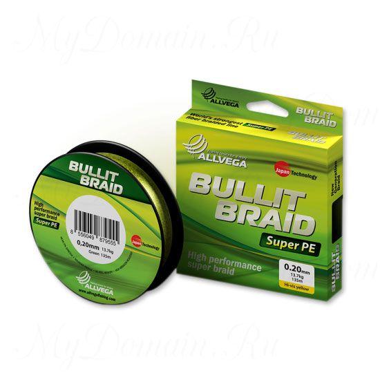 Плетеный шнур Allvega Bullit Braid 92M Hi-Vis Yellow 0,16mm