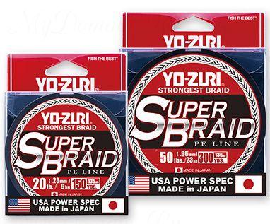 Плетеный шнур YO-Zuri PE SUPERBRAID 300YDS 40Lbs (0.32mm)