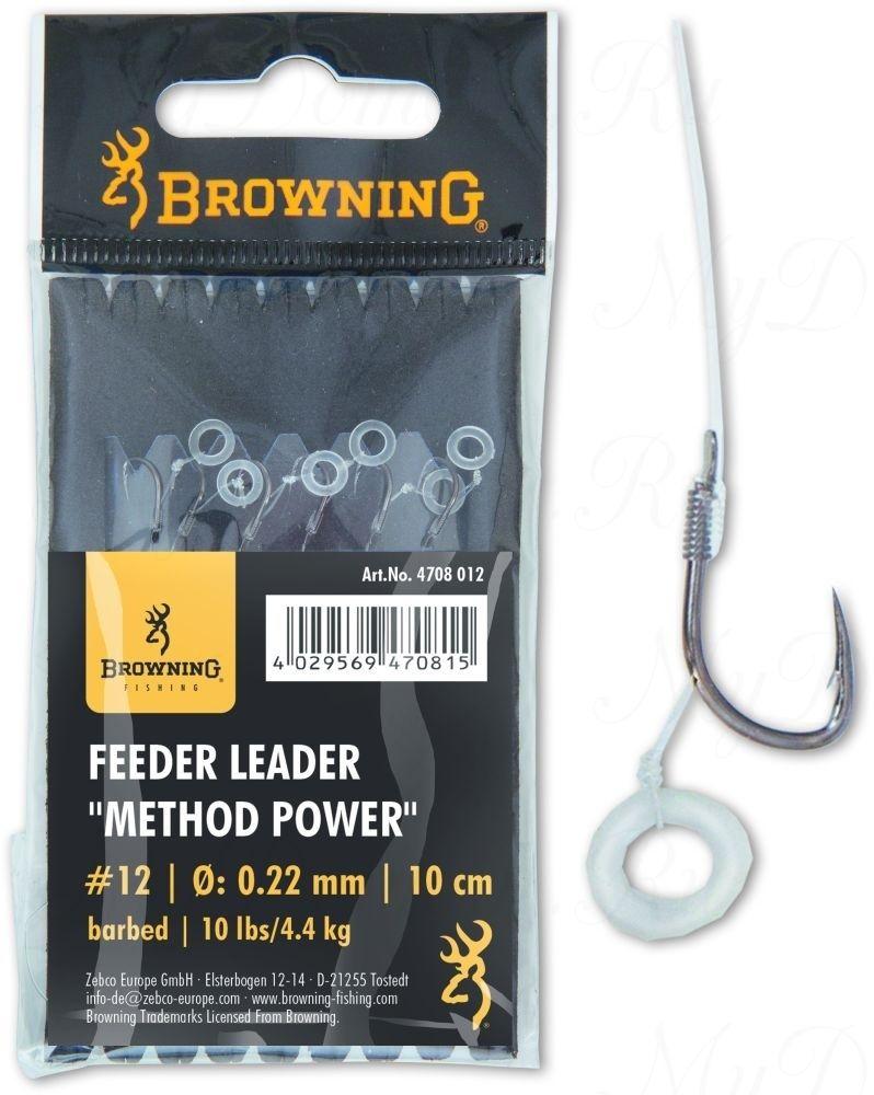 Крючки с поводками Browning Leader Feeder Method Power Pellet с крепежом для пелетса  №12 0,22mm 10cm 6 шт